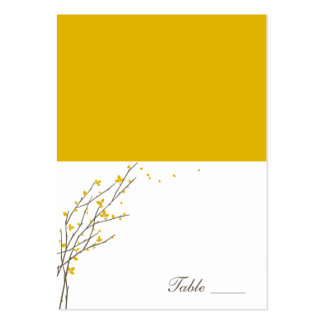 Blooming Branches Folded Place Cards - Mustard Business Card Template