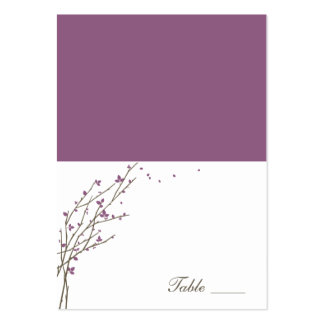 Blooming Branches Folded Place Cards - Plum Business Card Template