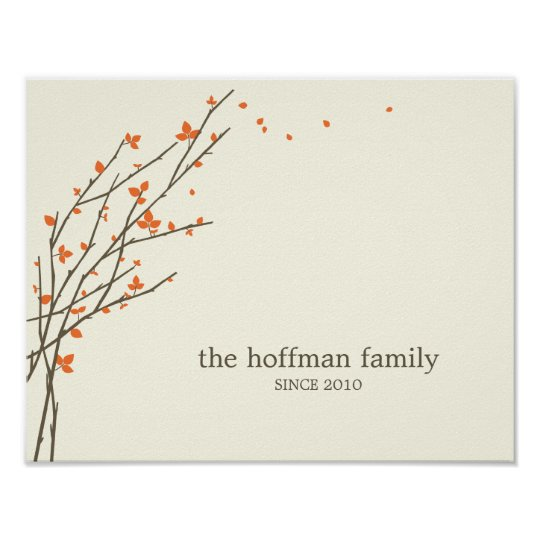 Blooming Branches Personalised Wall Art -Orange-