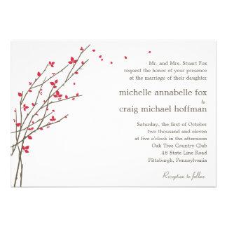 Blooming Branches Wedding Invitation - Cerise Personalized Invitation