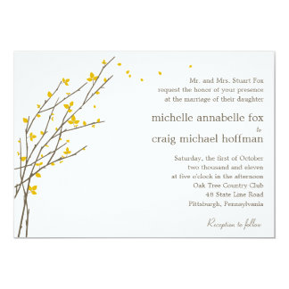 Blooming Branches Wedding Invitation - Mustard