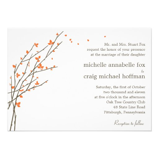 Blooming Branches Wedding Invitation - Orange Personalized Announcement