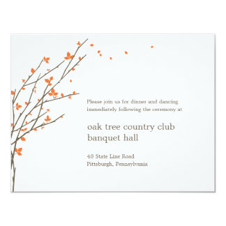 Blooming Branches Wedding Reception Card - Orange