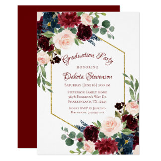 Blooming Brilliant | Floral Boho Graduation Party Card