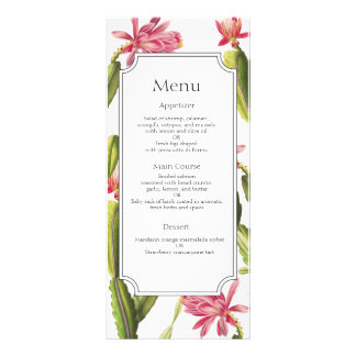 Blooming Cactus wedding menu