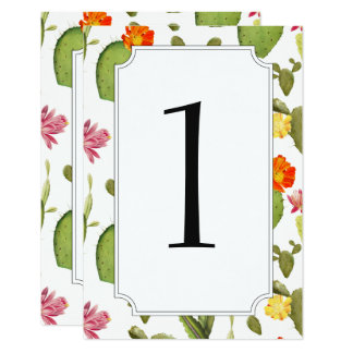 Blooming cactus wedding table number