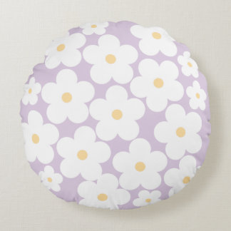 Blooming cherry blossom-lavender round cushion