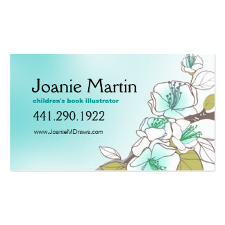 Blooming Cherry Blossoms   aqua Double-Sided Standard Business Cards (Pack Of 100)