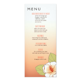Blooming Cherry Blossoms Dinner Menu peach 4x9.25 Paper Invitation Card