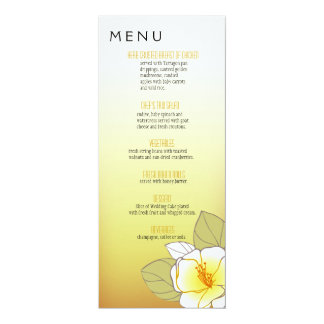 Blooming Cherry Blossoms Dinner Menu yellow 4x9.25 Paper Invitation Card