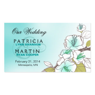 Blooming Cherry Blossoms Wedding Website aqua Double-Sided Standard Business Cards (Pack Of 100)