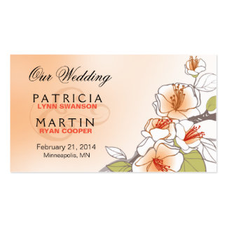 Blooming Cherry Blossoms Wedding Website peach Double-Sided Standard Business Cards (Pack Of 100)