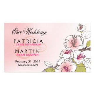 Blooming Cherry Blossoms Wedding Website pink Double-Sided Standard Business Cards (Pack Of 100)
