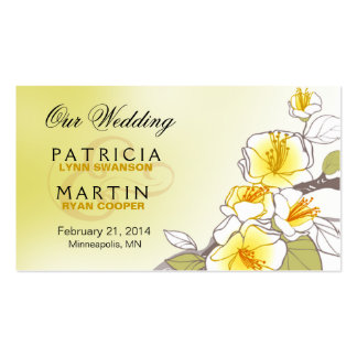 Blooming Cherry Blossoms Wedding Website yellow Double-Sided Standard Business Cards (Pack Of 100)