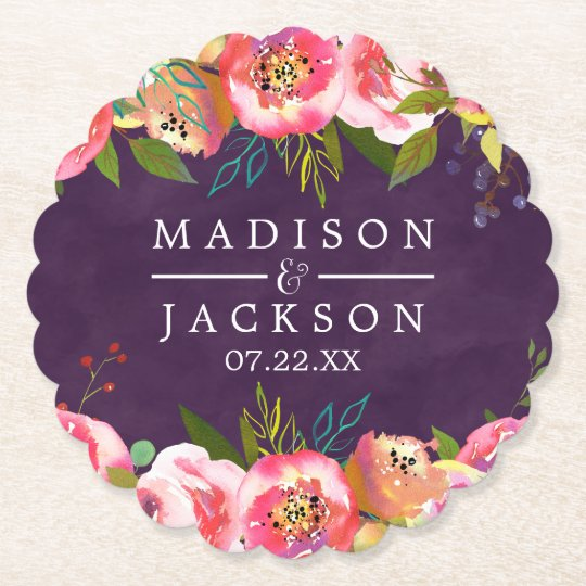 Blooming Chic Colour Editable Monogram Wedding Paper Coaster