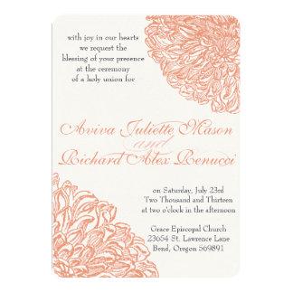 Blooming Dahlia Peach Coral Wedding Card