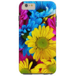 Blooming Daisy Flowers, Petals - Blue Yellow Pink
