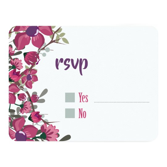Blooming elegant purple floral vines Wedding Card