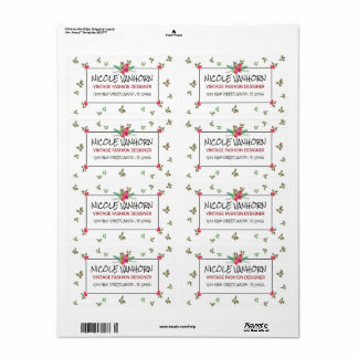 Blooming Floral Vintage Roses watercolor Pattern Shipping Label