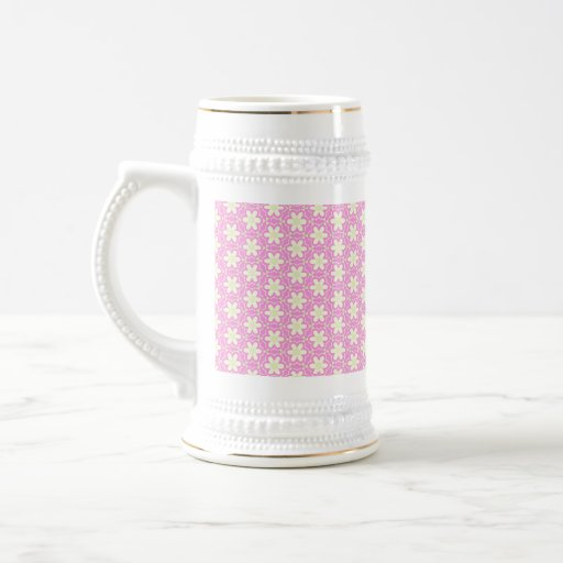 Blooming Flowers and Petals - Pink White Mugs