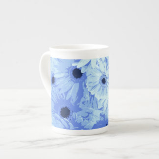Blooming Gerbera Flowers and Petals - Blue Bone China Mug