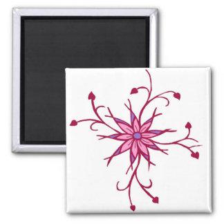 Blooming heart flower magnet