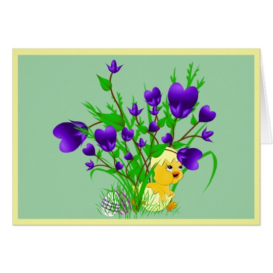 Blooming Hearts Easter Chick Card