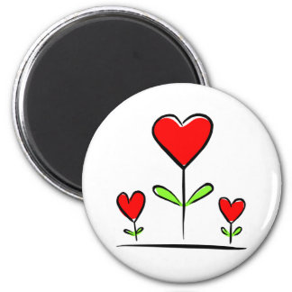 Blooming Hearts Flowers Love Heart 6 Cm Round Magnet