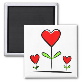 Blooming Hearts Flowers Love Heart Square Magnet