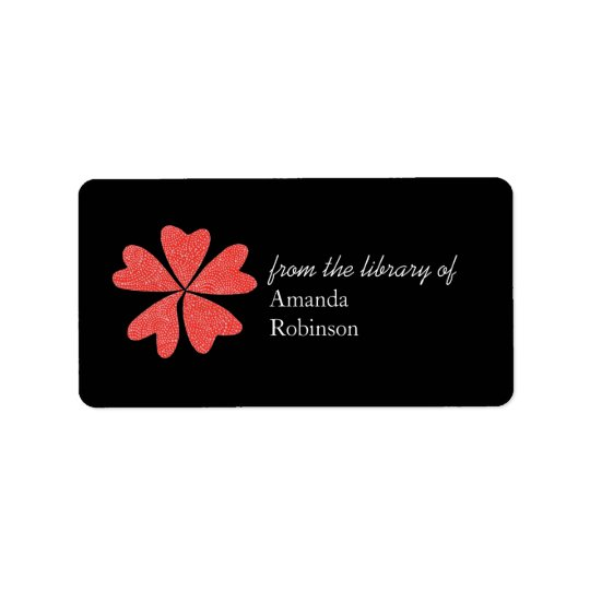 Blooming hearts personalised bookplate - black address label