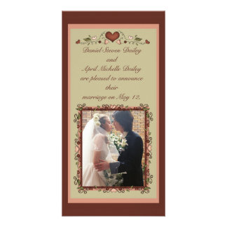 Blooming Hearts Wedding Announcement Photo Card