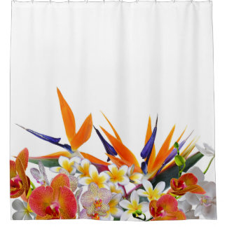 Blooming Joy-Tropical Flowers Shower Curtain