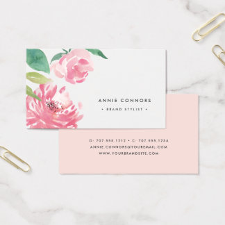 Blooming Peony | Watercolor Floral Business Card