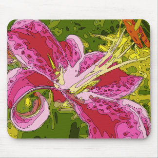 Blooming Pink Lily Flower Mousepads