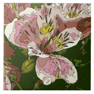 Blooming Pink Lily Flower Painting Ceramic Tile