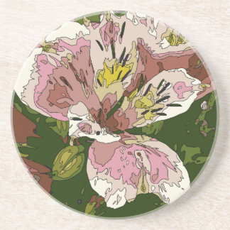 Blooming Pink Lily Flower Painting Beverage Coasters