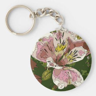 Blooming Pink Lily Flower Painting Keychains
