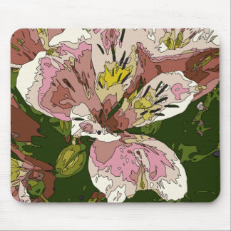 Blooming Pink Lily Flower Painting Mousepads