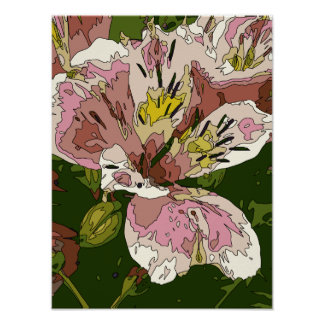 Blooming Pink Lily Flower Painting Posters