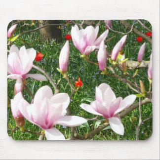 Blooming Pink Magnolia (Tulpenbaum) Mouse Pad