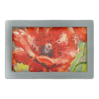 Blooming poppies belt buckle