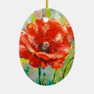 Blooming poppies christmas ornament