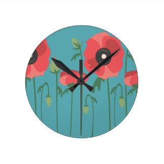 Blooming Poppy Field Clock