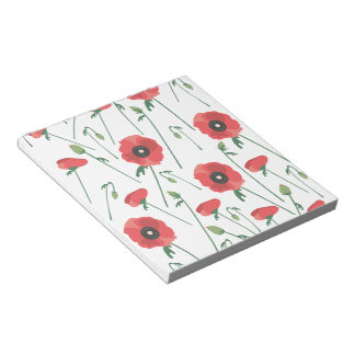 Blooming Poppy Field Print Notepad