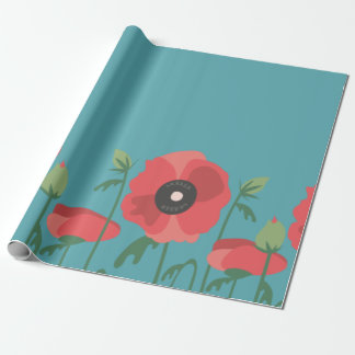 Blooming Poppy Field Print Wrapping Paper