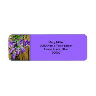 Blooming Purple Hosta Flower Label Return Address Label