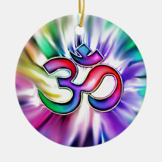 Blooming Rainbow Lotus OM Christmas Ornament