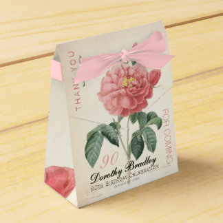 Blooming Rose 90th Birthday Thank You Favor Box Party Favour Box