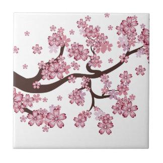 Blooming Sakura Branch Small Square Tile