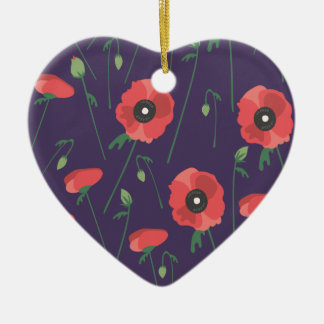 Blooming Springtime Poppies Purple Ceramic Heart Decoration